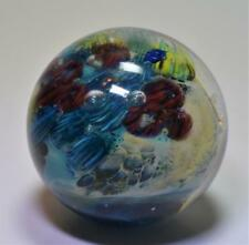 1995 Josh Simpson Inhabited Planet w/ Spaceship Glass Marble Paperweight Signed
