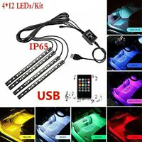 4Pcs LED Car Interior RGB LED Strip Lights Atmosphere Decorative Neon Music Lamp