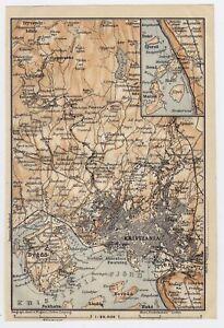 1914 ORIGINAL ANTIQUE MAP OF VICINITY OF OSLO KRISTIANIA / NORWAY
