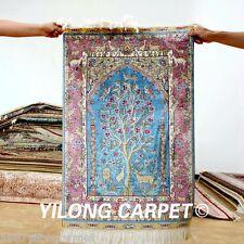 Yilong 2'x3' Blue Handmade Prayer Silk Rugs Handiwork Tree of Life Carpets 0452