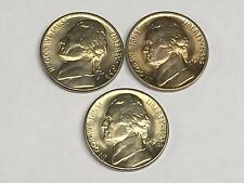 Rare Original 1938-P 1938-D 1938-S Pds Ch/Gem Bu Jefferson Nickel Date Set #10