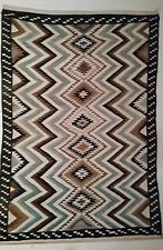 Big 7 Foot AUTHENTIC Vintage Hand Woven NAVAJO Wool Rug TEEC NOS POS EYE DAZZLER