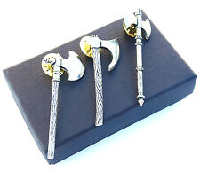 Viking BattleAxes Handcrafted from English Pewter Lapel Pin Badge + Gift Box