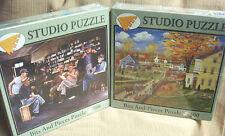 "2 NIB Studio Puzzles 500 Pc - Bob Fair's ""Autumn Chores"" & Les Ray's ""Good News"""