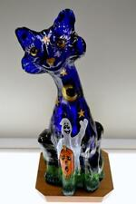 Fenton ALLEY Cat Glossy COBALT BLUE HP Halloween Spooks OOAK FreeUSAshp