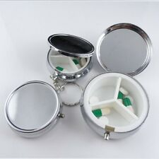 1pc Metal Round Silver Tablet Pill Boxes Holder Container Medicine Small Case
