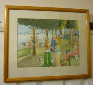 Large Framed Water Colour By Eric Dawson Called The Boat Station 1995