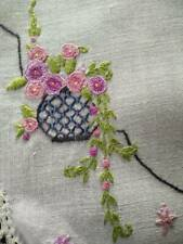 Wonderful Hanging Basket Flowers  Vintage Hand embroidered Centrepiece