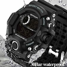 Tactical Army LED Watch Military Sport Waterproof Quartz Digital Dive Black NEW