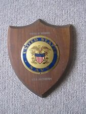 ORIGINAL AND RARE WW11  U.S.S. ANTHEDON,  WOODEN AND METAL NAVAL PLAQUE.