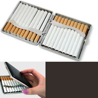 1xClassic Leather & Alloy Cigarette Case Box Metal Holder Container For Ligh gh