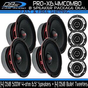 "4 DS18 PRO-X6.4M 6.5"" Midrange Car Loud Speakers 4 PRO-TWX1 Super Bullet Tweeter"