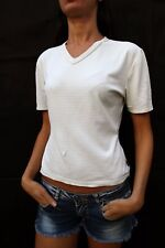 CK Calvin Klein Khakis V Neck Checked T SHIRT Ladies Stretch Fit L SUPER