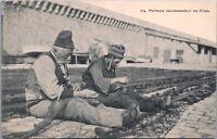 Fishermen Repairing Fishing Net Unknown Location Vintage Postcard E20