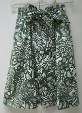 Mint H&M Green & White Floral Print High Waisted Skirt with Tie at Waist-size 4