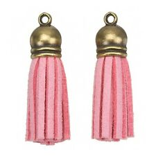 Suede Tassel Charms with Bronze Cap for Jewellery Making Light Pink 36mm (H20/2)