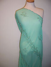 Designer Fabric Mint Green Sequin Pearl Hand Embroidered Motif Chiffon Georgette
