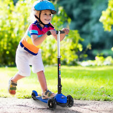 HOMCOM Foldable Children Scooter 3 Flashing Wheels Adjustable Kids Blue