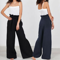 Womens Ladies Wide Leg High Tie Waisted Paper Bag Palazzo Culotte Trousers Pants