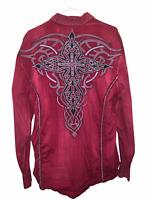 Mens Red ROAR Embroidered Stripe Button Down Shirt Sz 2XL XXL Western