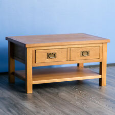 Surrey Oak Coffee Table Large Rustic Solid Wood Table with Storage Drawer Shelf