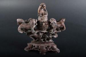#1459: Japanese Stone jade/jewels INCENSE BURNER Tea Ceremony Buddhist art