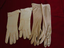vintage womens accessories gloves 2 pair long dress gloves, ivory and beige