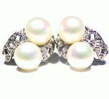 Victorian Vintage 14K Solid Gold Natural Pearl White Diamond Engagement Earrings