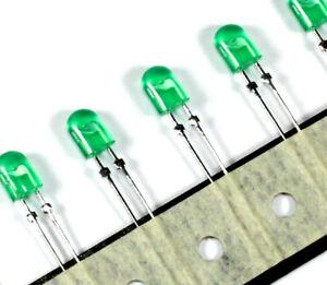 100pcs - 5mm OVAL Green LED, 2 Pin, Broadcom Limited, 3.3V, Diffused, USA
