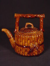 VERY RARE 1800s SIGNED AND DATED TEAPOT ROCKINGHAM GLAZE YELLOW WARE