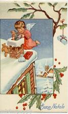 Child Angel with Toys Teddy Bear Doll Snow Packets Xmas PC 1930 Italy