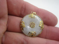 14K YELLOW GOLD Jade Circular Circle Chinese Symbol Pendant *518