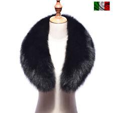 COLLO PELLICCIA di VOLPE NERO FOURRURE de RENARD silver FOX fur LIGHT BLACK 2c7779293fa