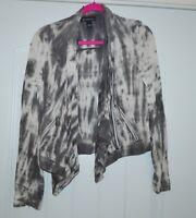 INC International Concepts Women's Size M Gray white Tie Dye Blouse Top Jacket