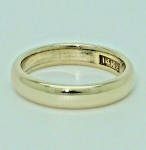 Antique 14KT Yellow Gold Wedding Band Engraved Solid 4MM Wide, Circa 1912 Size 6