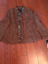 NWT TERRY LEWIS Embroidered Jacket, Size 10P, Color Brown