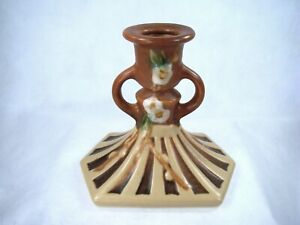 Roseville Pottery SINGLE SIGNED RARE Cherry Blossom Candle Holder Stick 1090-4