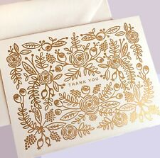 RIFLE PAPER CO. Thank You Greeting Card & Envelope - Rose Gold Foil Floral