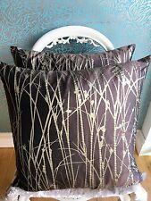 "2 x 20"" sq Harlequin Kallianthi Grasses Silk Fabric Cushion & Inner Brown Gold"