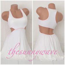 Victorias Secret Dress Padded Bra Top Open Back White Pink Short Tank Stretch S
