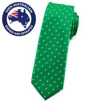 Men's Skinny Tie Green White Polka Slim Tie 6CM Thin Wedding Ties Groom Necktie