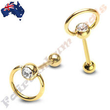 316L Surgical Steel Gold Ion Plated Gemmed Slave Ring Barbell Tongue Ring