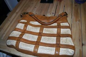 Fossil Fifty-Four Beautiful  Brown Glove Leather AND STRAW Hobo Shoulder Bag