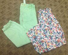 Zara Girls Lot Of 2 Pair Pants Green Joggers White Floral Dressy Sz 13 14 Gg7228