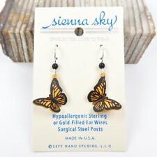 Sienna Sky Earrings 925 Sterling Silver Hook 3D Orange Monarch Butterfly