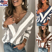 Women Winter V-Neck Knitted Sweater Ladies Long Sleeve Pullover Tops Warm Jumper