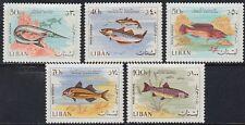Libanon Lebanon 1966 ** Mi.1028/32 Tiere Animals Fische Fish Wasser [st1158]