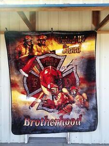 FIREMEN FIRE DEPT RESCUE UNITED WE STAND BROTHERHOOD QUEEN BLANKET BEDSPREAD