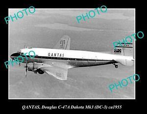 OLD POSTCARD SIZE PHOTO OF QANTAS AIRLINES DOUGLAS DC-3 ca 1955