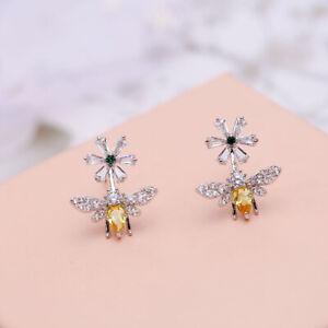 925 Sterling Silver Daisy Flower Bee Stud Earrings Zircon Creative Women Earring